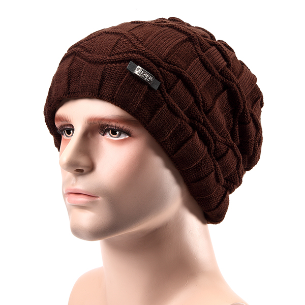 Men Wool Knitted Beanie Hat Arctic Velvet Lining Warm Winter Plus Samt Dicker Outdoor Ski Cap