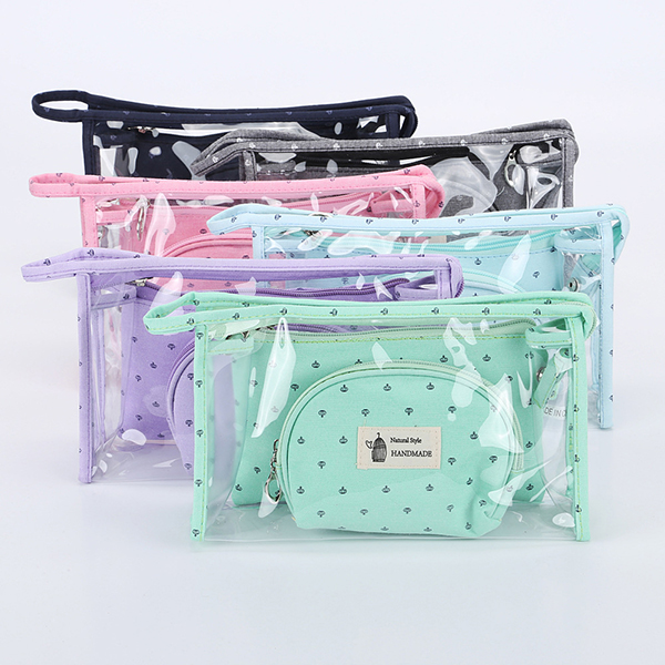 Women PVC Cosmetic Bag Three-Piece Package Storage Bag