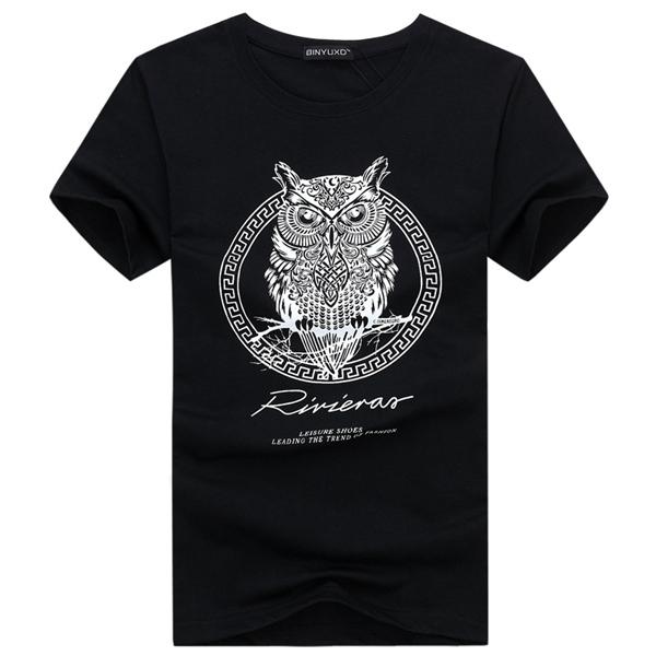 Cotton Plus Size Print T shirts O-neck Short Sleeve Men Tops