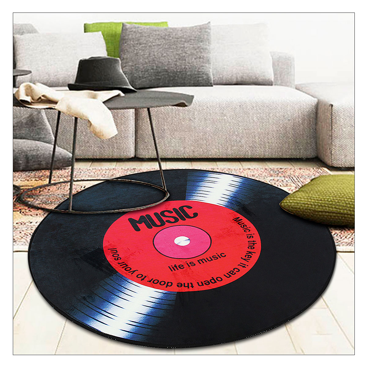 60/80/100/120cm Vinyl Record Printed Soft Fabric Round Floor Mat Carpet Room Area Bedroom Rug