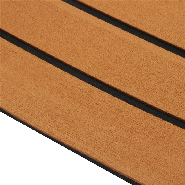 600x2400x5mm Brown Black Teak Decking EVA Foam Marine Flooring Faux Boat Decking Sheet