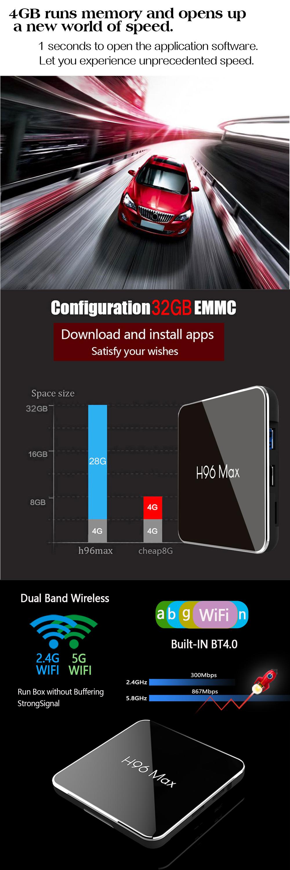 H96 MAX X2 S905X2 4GB RAM 32GB ROM 5G WIFI USB 3.0 4K Android 8.1 bluetooth 4.0 Voice Control TV Box