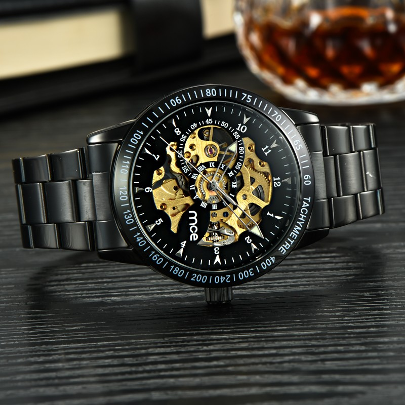 MCE 60210 Cool Business Man Black Stainless Steel Automatic Mechanical Wrist Watch
