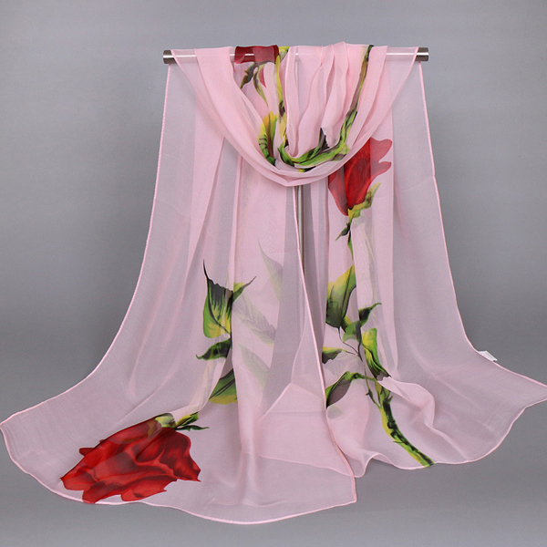 Women Ladies Rose Floral Printed Chiffon Scarves Flower Voile Female Shawls