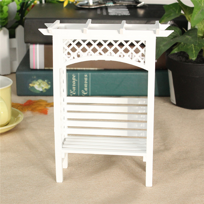 1:12 Scale White Wood Grape Trellis Planter Model Dollhouse Miniature Furniture