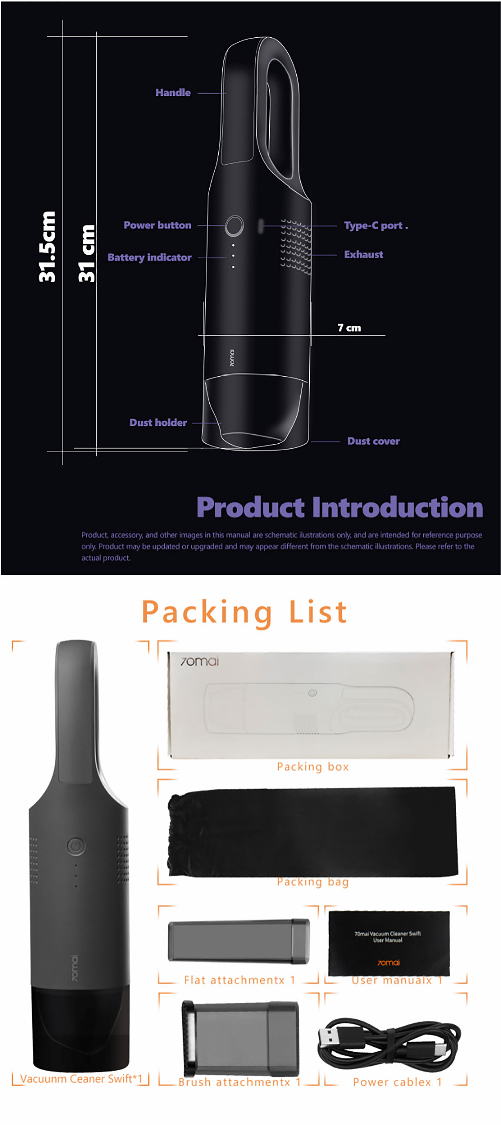 [ International Version ] 70mai Mini Car Vacuum Cleaner Handheld 5000pa Wireless Light Weight Auto Cyclonic Filter Separator from Xiaomi Ecological Chain
