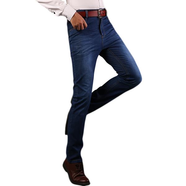 Mens Business Jeans Casual Mid Waist Elastic Slim Fit Straight Legs Denim Pants