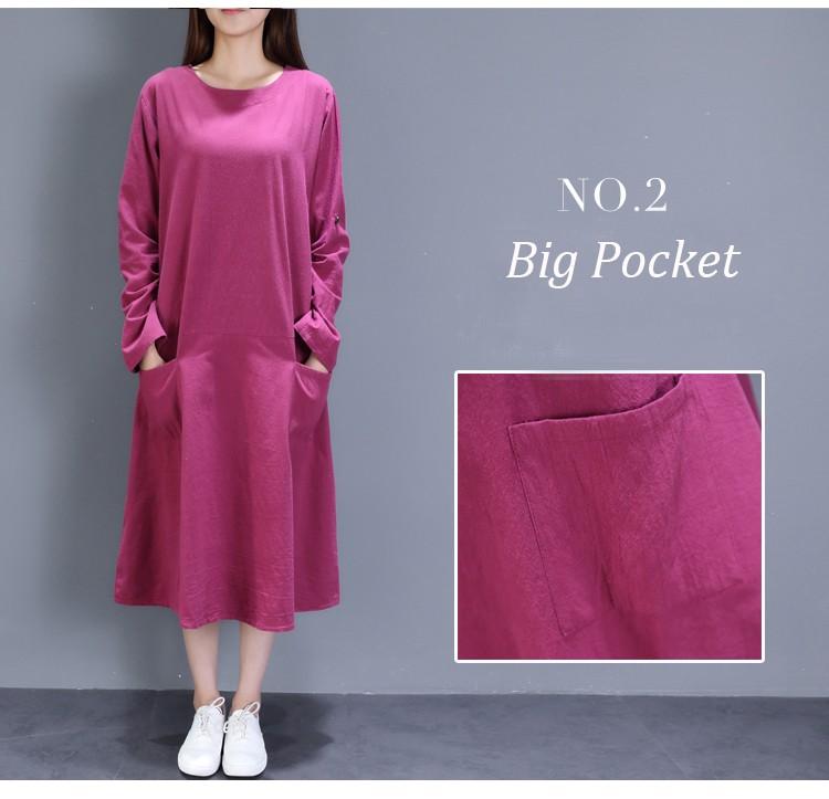 Retro Vintage Pocket Patchwork Solid Color Long Sleeve Women Dress