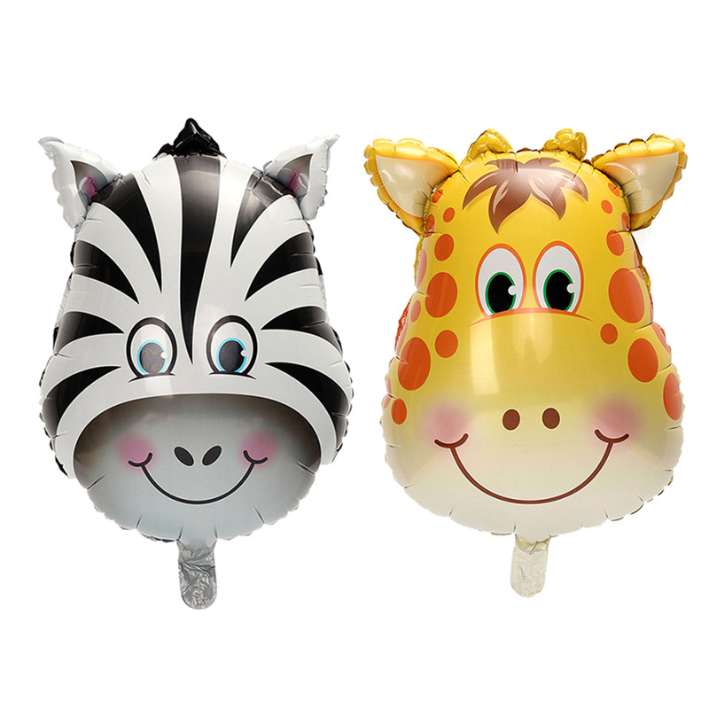 3PCS Inflatable Animal Face Lion Monkey Tiger Zebra Foil Balloon Birthday Party Decor kid Toy Gift
