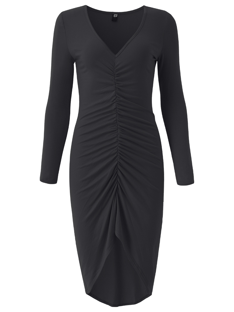 Women Sexy V-Neck Long Sleeve Package Hip Dovetail Dress