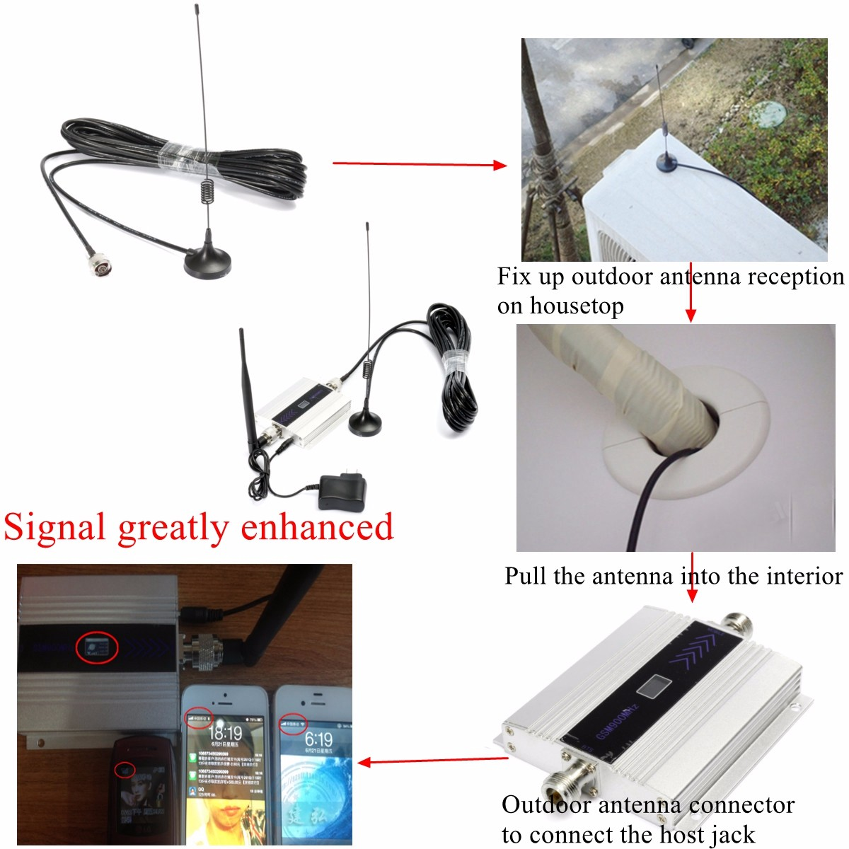 2G GSM 900mhz LCD Cell Phone Signal Booster Repeater Amplifier Kit With Sucker Antenna