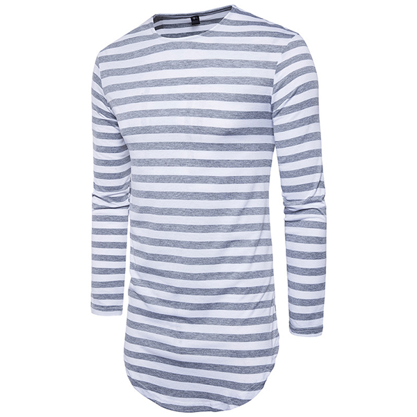 Hip-hop High Street T-shirt Men's Round Neck Fashion Stripes Long T-shirt