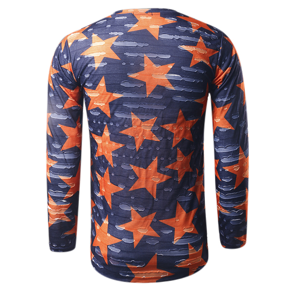 Fashion Unisex Star Printing Ripped Tees Casual O-neck Retro Destroy Hole Long T-shirts
