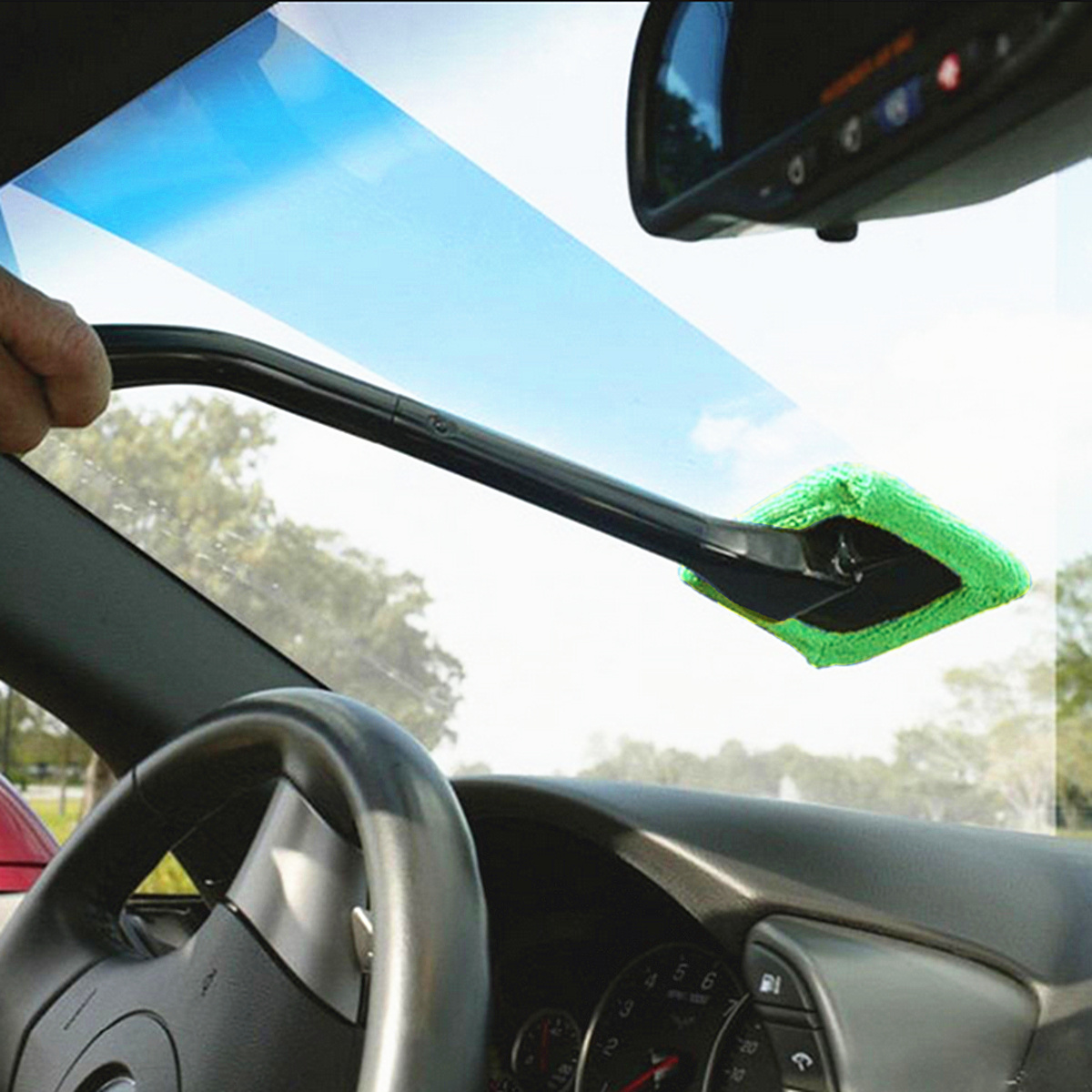 Car Auto Long Handle Wiper Cleaner Glass Window Microfiber Wind Shield Clean Brush
