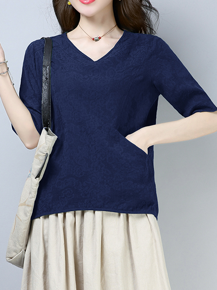Casual Women Pure Color Pocket Half Sleeve Cotton Tops