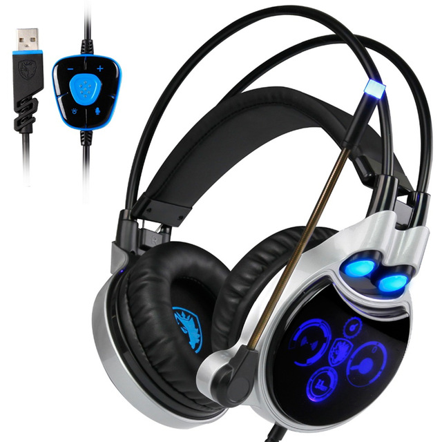 Sades R8 Gaming Headset USB Virtual 7.1 Light Surround Sound PC Gamer Headphone With Microphone