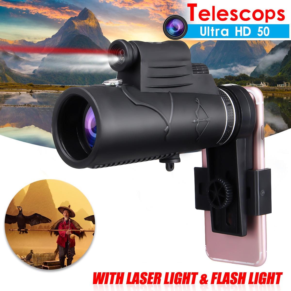 50×60 Outdoor Hiking Camping HD Optics Monocular Telescope Bird Watching With Laser Flashlight Phone