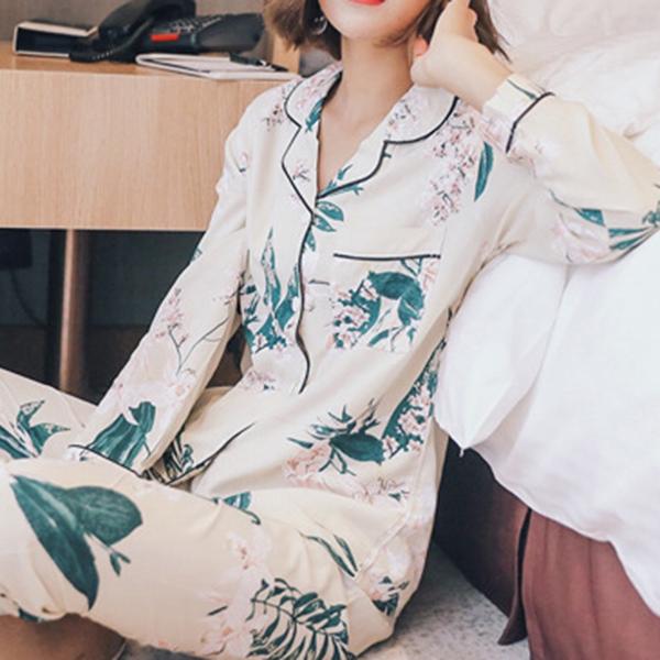 Long Sleeve Cotton Silk Lapel Sleepwear