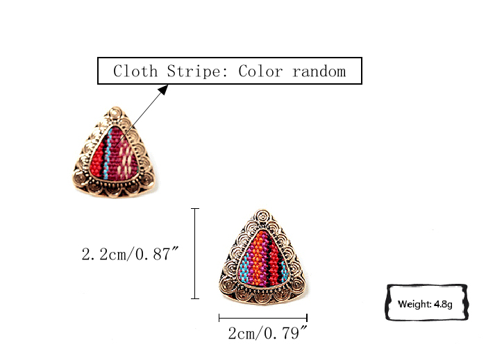 Retro Ethnic Colorful Cloth Triangle Alloy Ear Stud Women Earrings