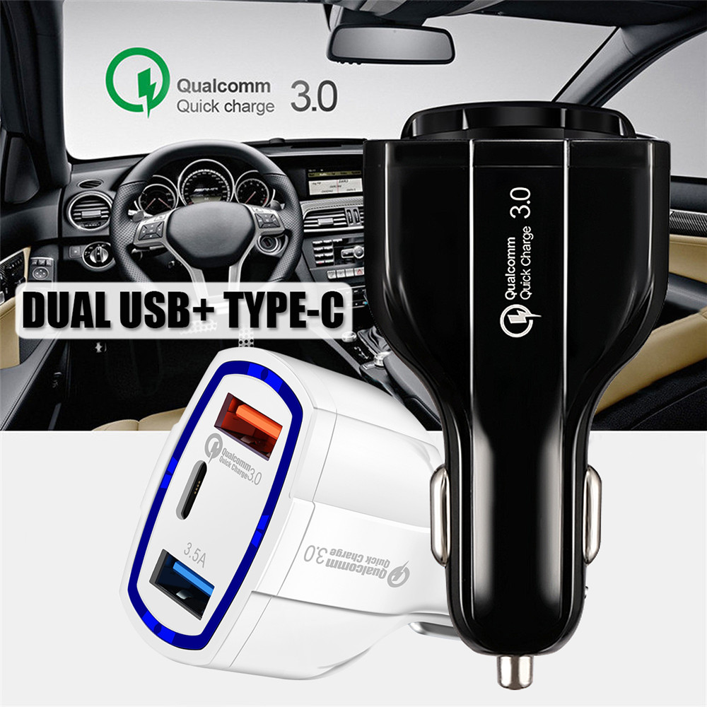 Quick Charge Dual USB Type-C Car Charger For Smartphone Tablet