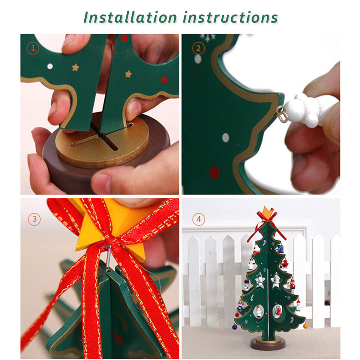 3D Wooden Cartoon Christmas Tree Table DIY Decorations Hanging Ornaments