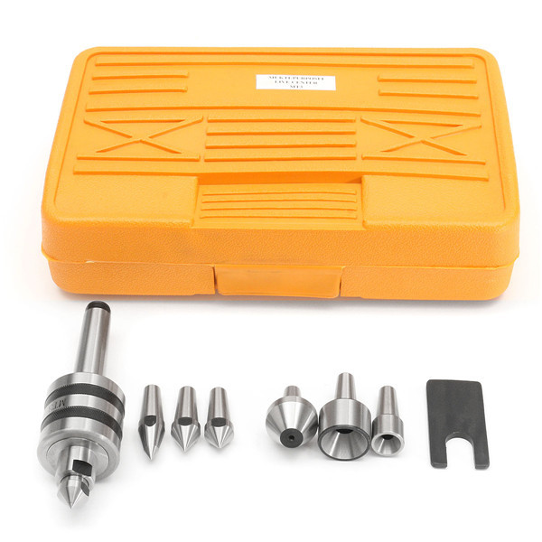 MT3 Live Center with 7pcs Interchangeable Tips Morse Taper Lathe Tool