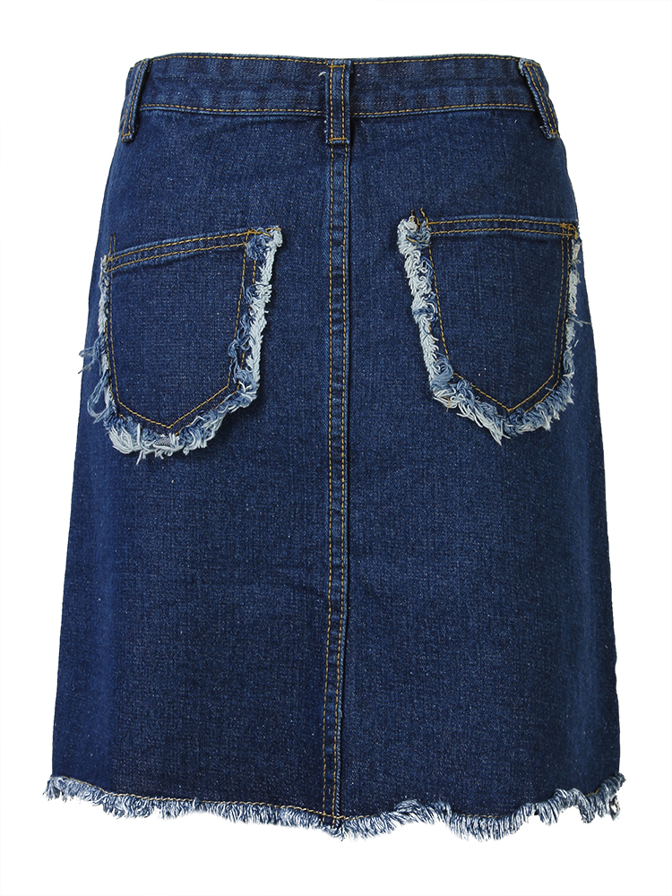 Women Casual High Waist A-Line Denim Short Skirt