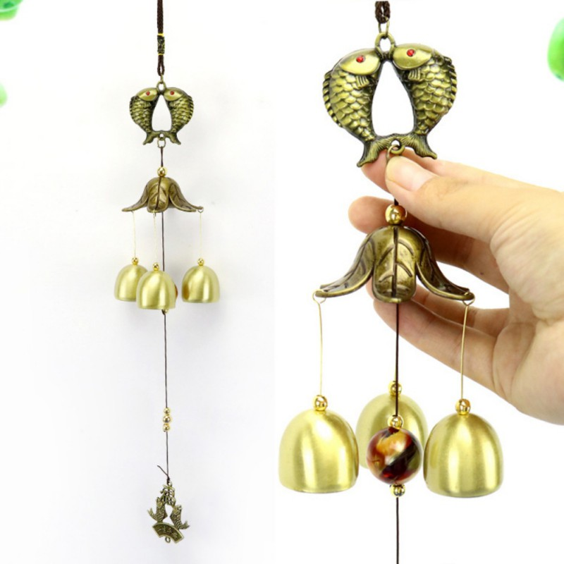 Lucky Fortune Garden Copper Alloy Wind Chime Ornaments Outdoor Living Yard Garden Wall Hanging Decoration Ornaments