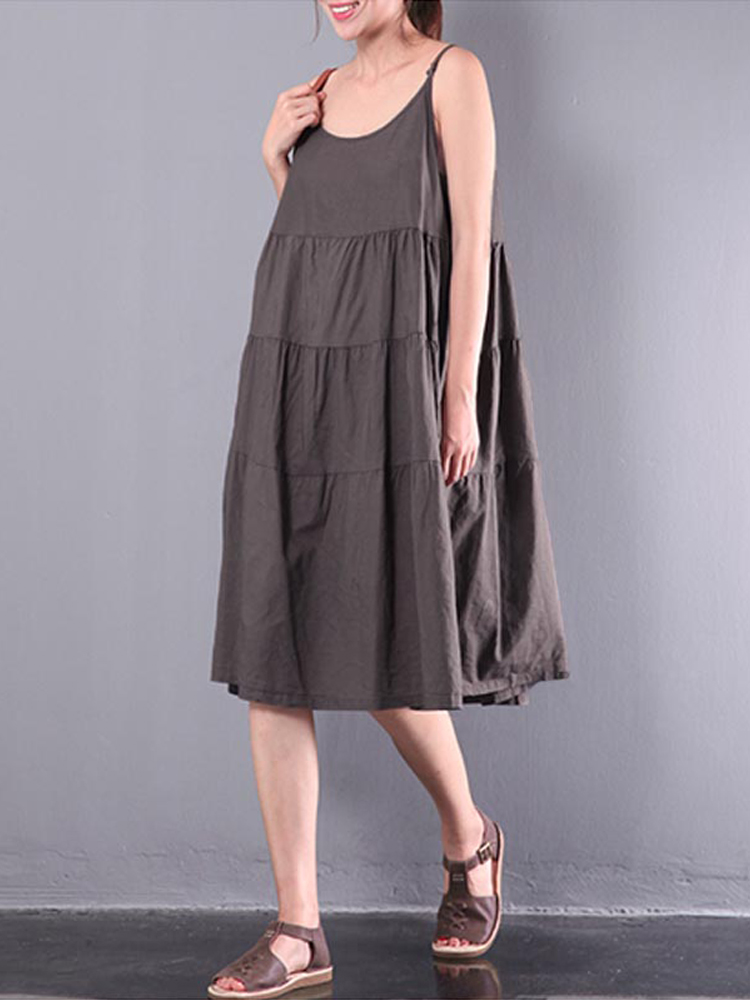 Women Strappy Sleeveless Pleated Dress