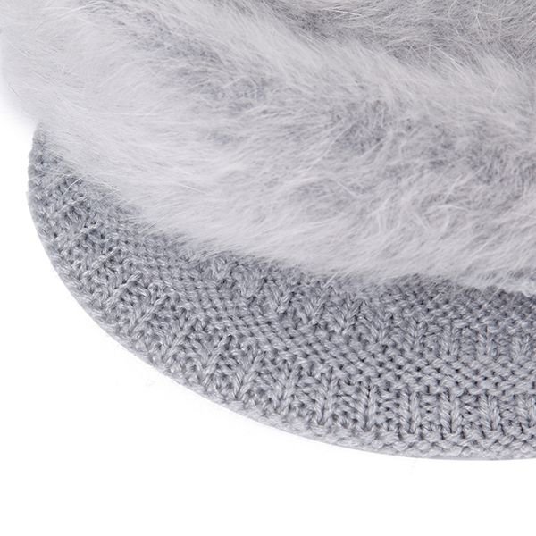 Women Ladies Fur Blend Beret Cap Wool Beads Winter Plush Lining Ear Warm Beanie Ski Hat