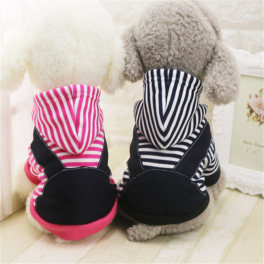 Pet Dog Winter Cotton Clothes Warm Soft Straps Stripe Color Hoodie Coats With Hat In All Size