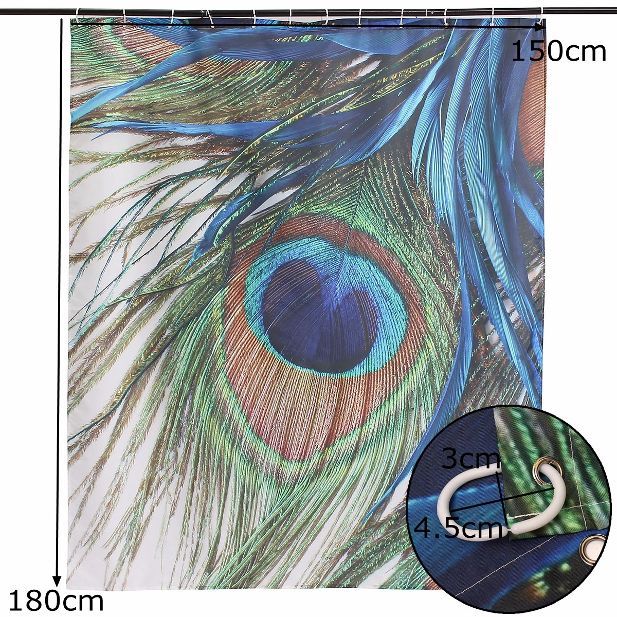 150x180cm Waterproof Peacock Feather Polyester Shower Curtain Bathroom Decor with 12 Hooks