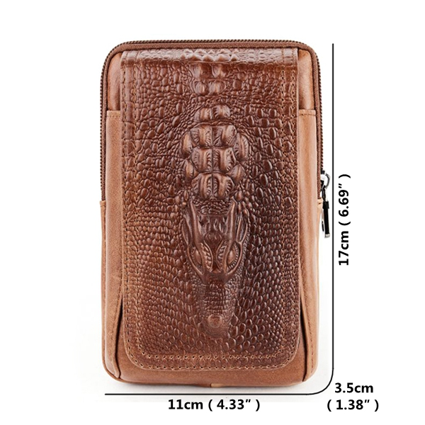 Croc Embossed Leather Phone Pouch for Men