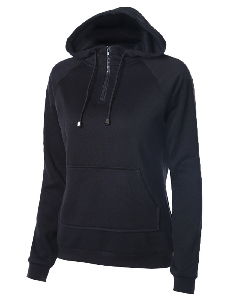 Casual Solid Black Hooded Zipper Long Sleeve Loose Women Sweatshirt