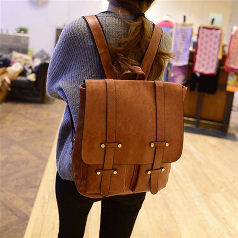 Women Rivet Backpack Vintage School Outdoor Travel Bags