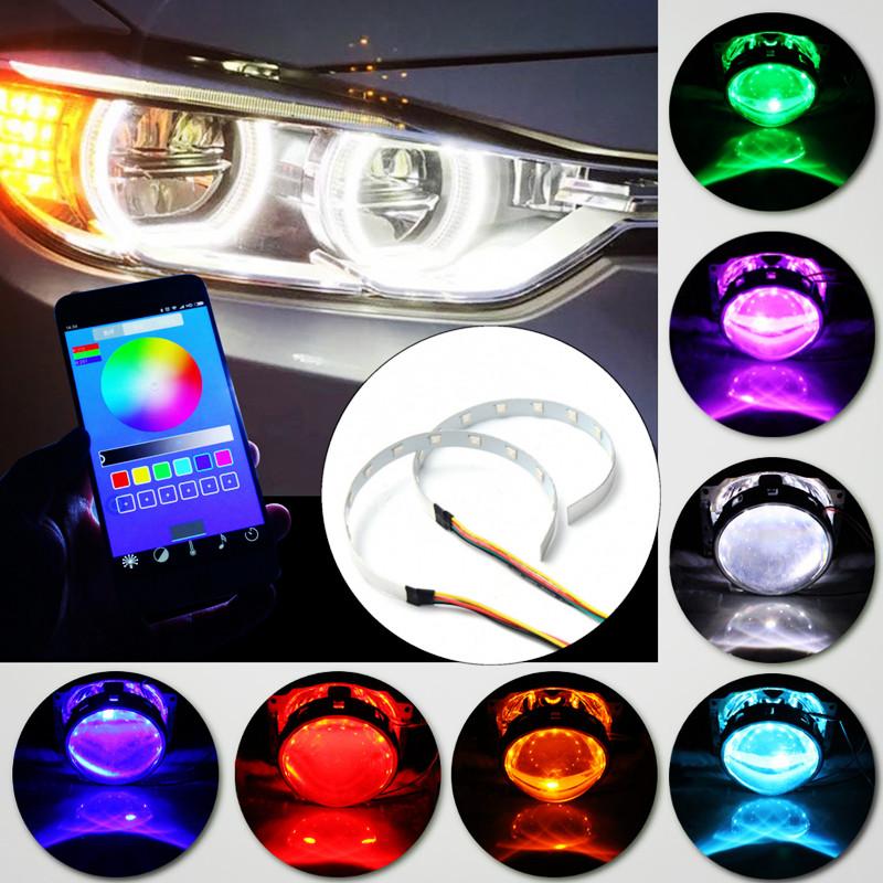 1Pair APP Control LED Angel Eyes Car Headlight Halo Ring Warning Lamps