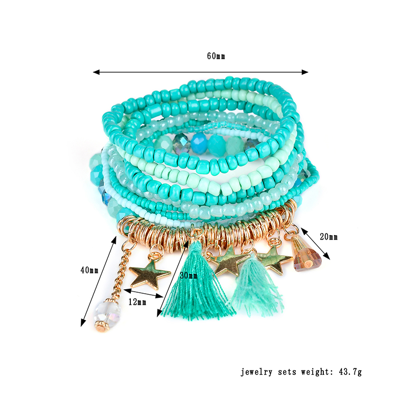 Bohemian Women's Bracelet Tassel Star Crystal Beads Bracelet Gift for Women