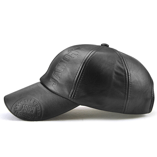 Letter Artificial Leather Warm Baseball Cap Adjustable