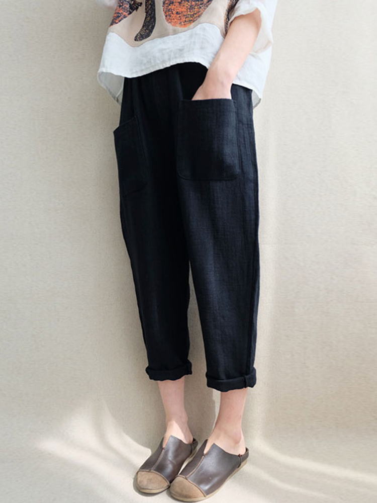 Women Linen Cotton Elastic High Waist Harem Trousers