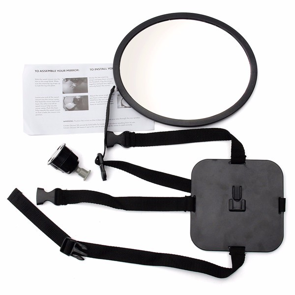 Adjustable Large Oval Wide View Mirror Child Baby Car Safety Head Rest Mount 360 Degree