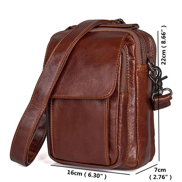 Men's Genuine Leather Brown Crossbody Shoulder Bag