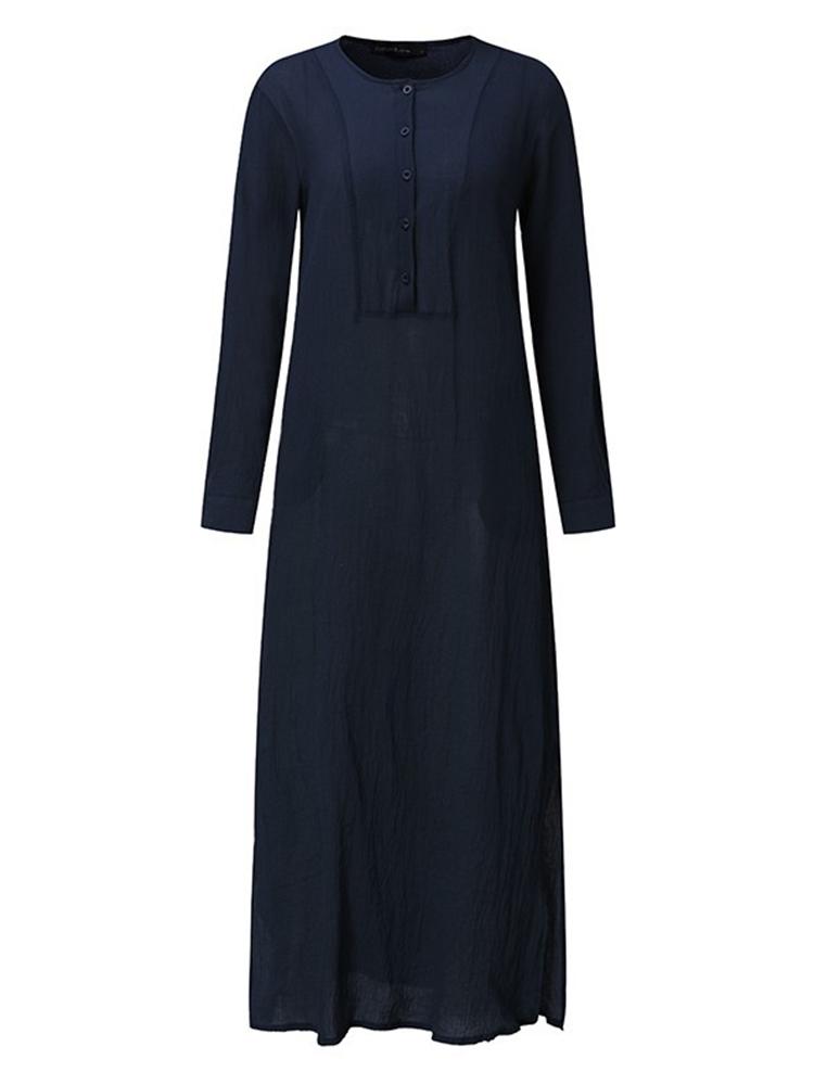 Plus Size V-neck Long Sleeve Solid Color Side Split Dress