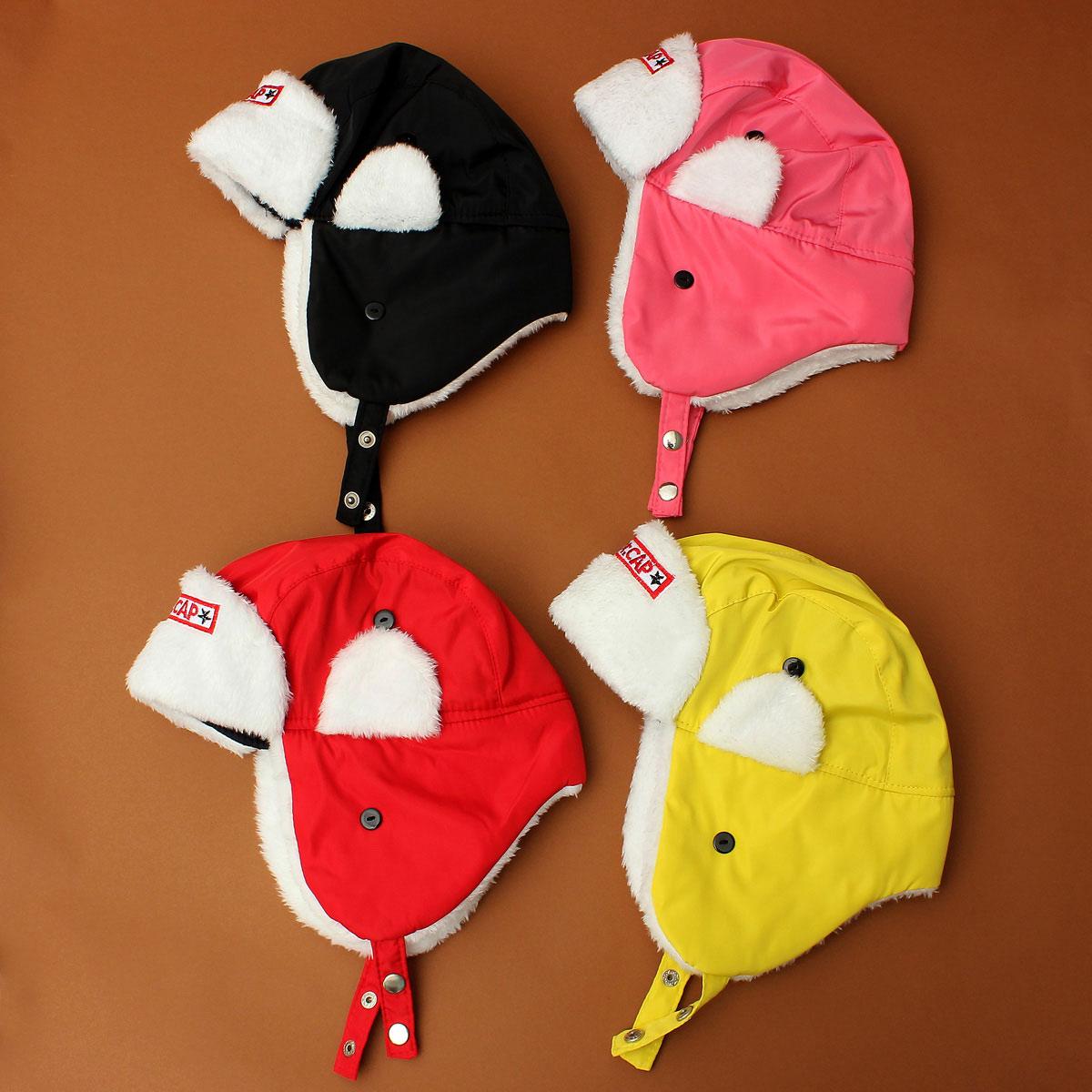 Winter Velvet Ear Protector Fur Cap Bomber Pilot Warm Hats for Children Boy Girls
