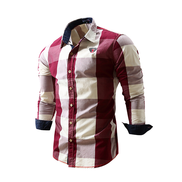 Mens Plaid Contrast Color Turn-down Collar Cotton Long Sleeve Fashion Casual Shirt