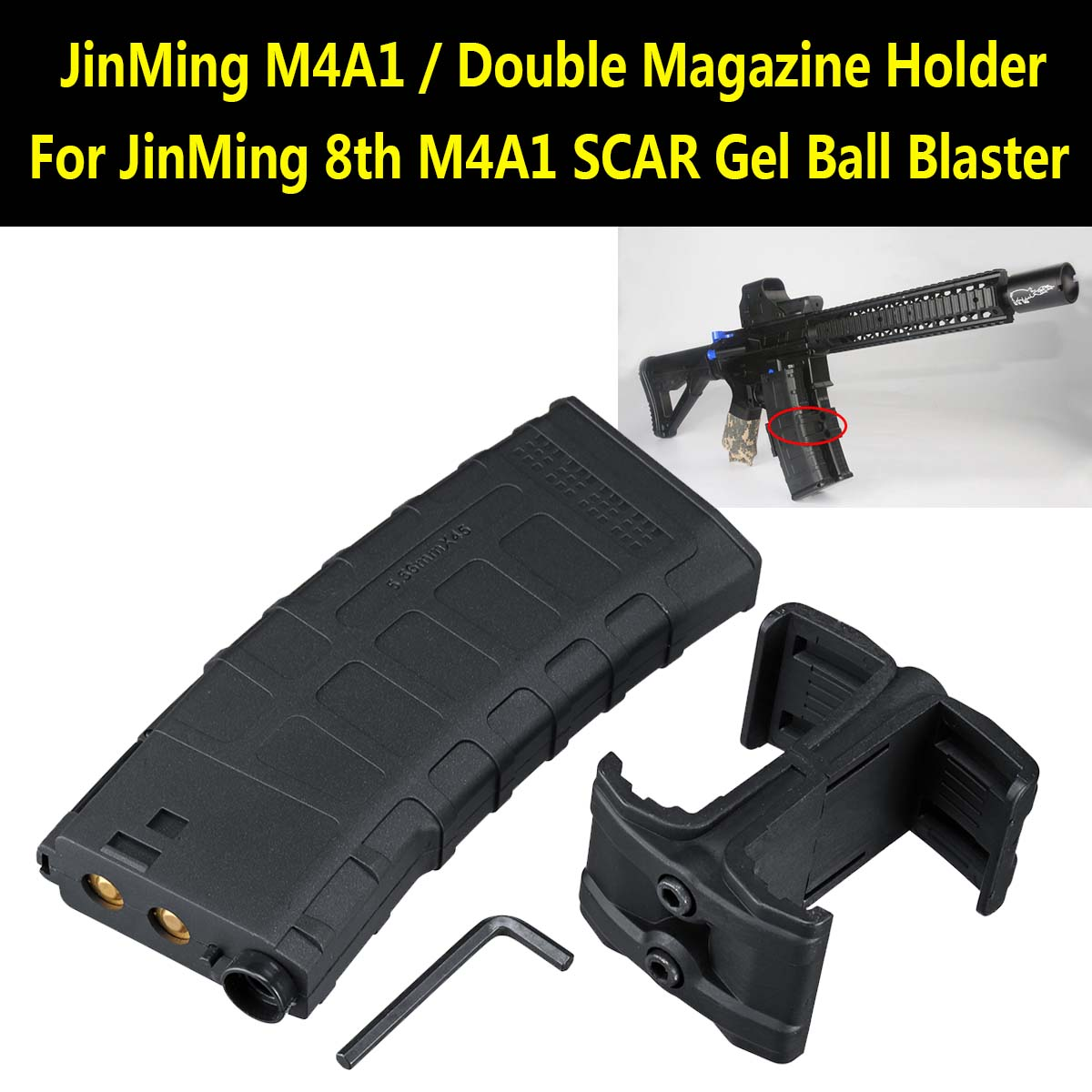 Magazine Clip with Double Mag Holder for JinMing 8th M4A1 Gel Ball Machine Replacement Accessories