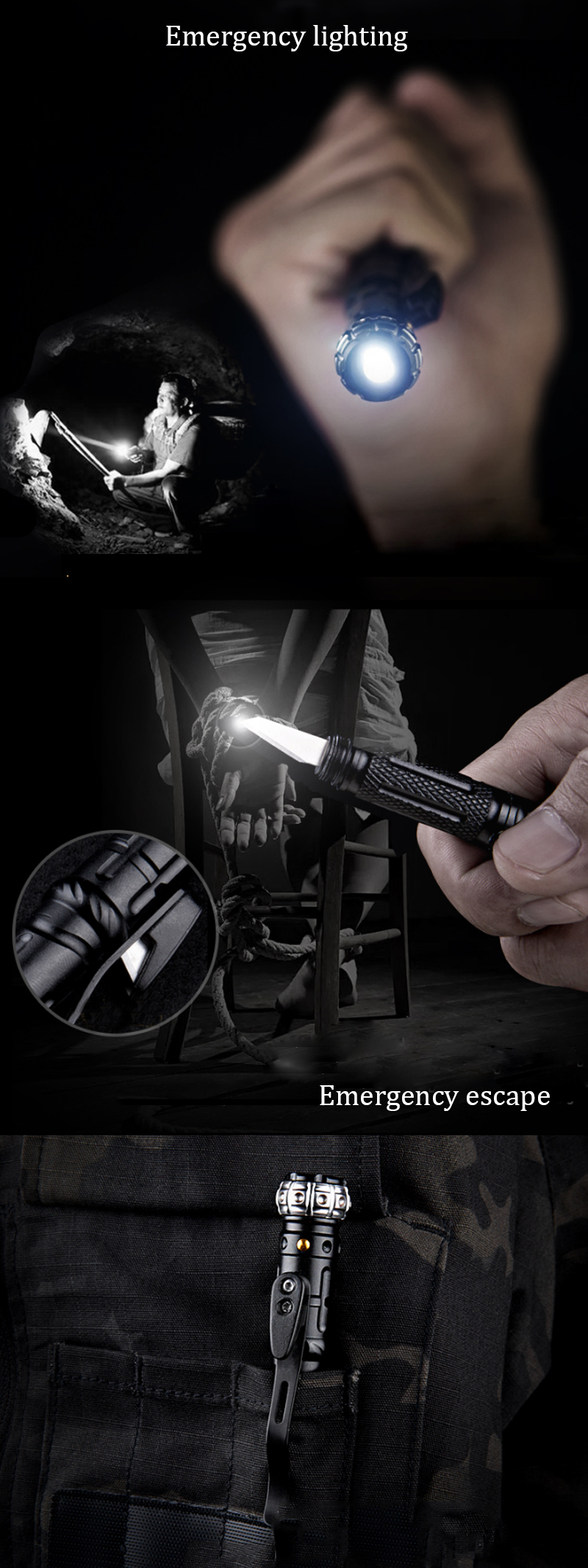 FREE SOLDIER AI0146 Mini Pen Shape Tactical Flashlight EDC Emergency Safe Hammer Whitting Pen