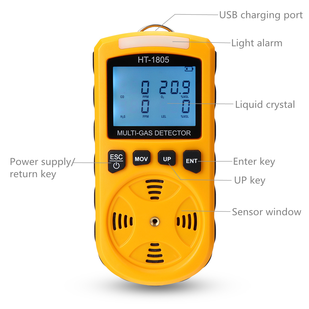 HT-1805 4 in 1 Portable Gas Tester Detector Poisonous O2 CO H2S LEL Gas Density Monitor