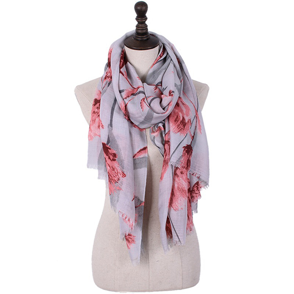 180CM Women Pashmere Warm Flower Soft Scarf