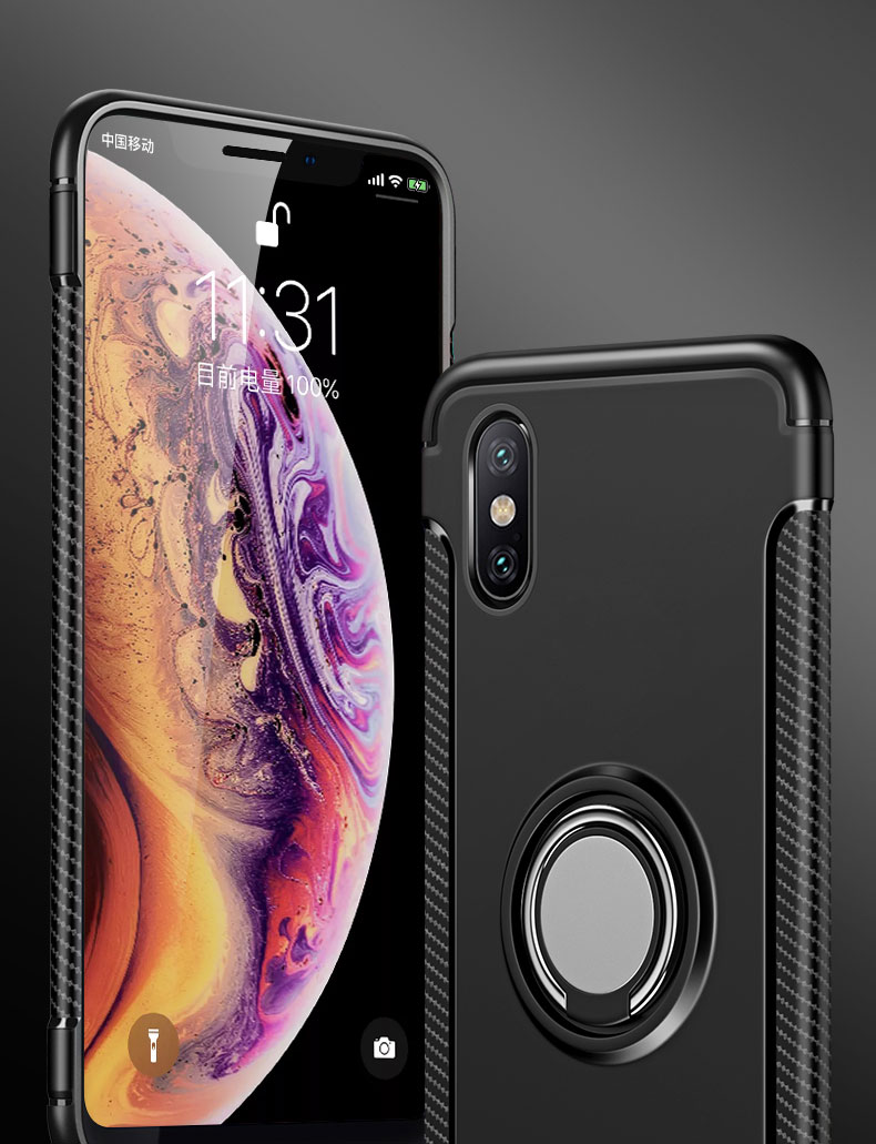 Bakeey Protective Case For iPhone XS Max Ring Grip Kickstand Stand Holder Back Cover