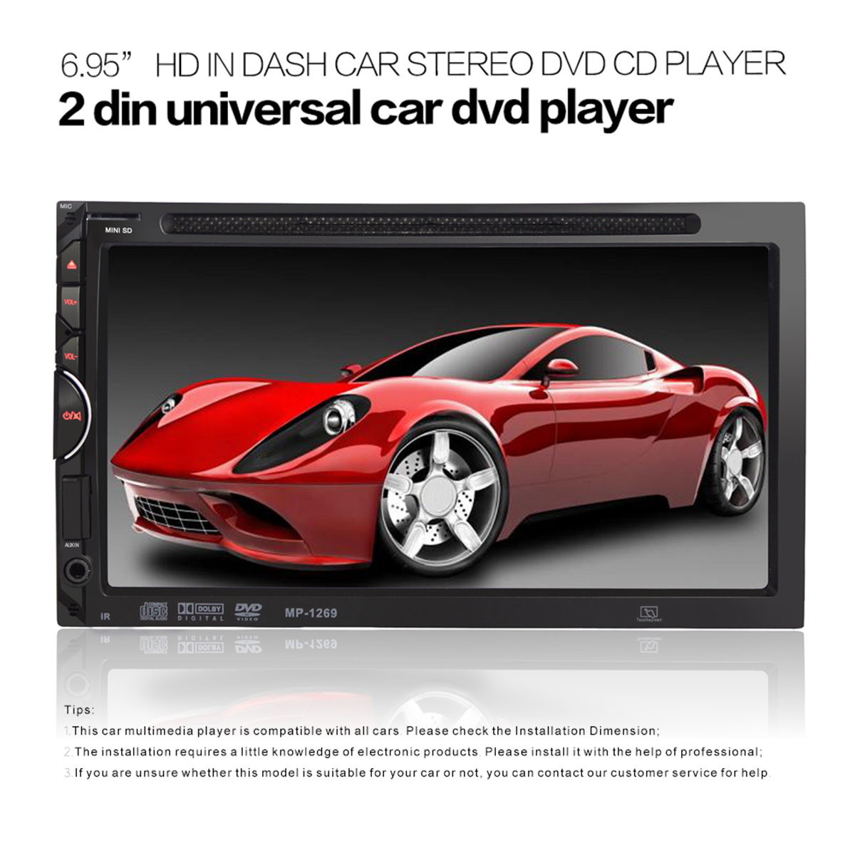 Double 2 Din 7inch Car bluetooth Touch Screen DVD CD MP4 Player FM Radio AUX/SD/USB